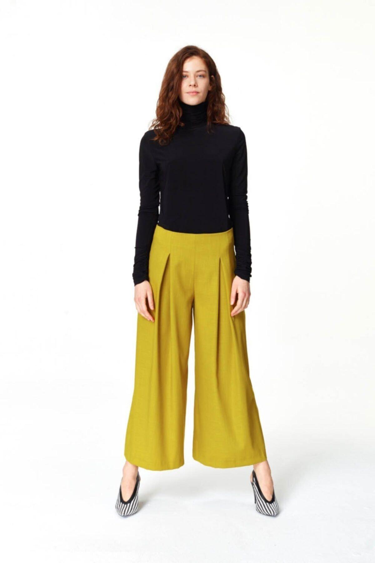 Mizalle Pile Detaylı Geniş Paça Pantolon (F.yeşil) 2