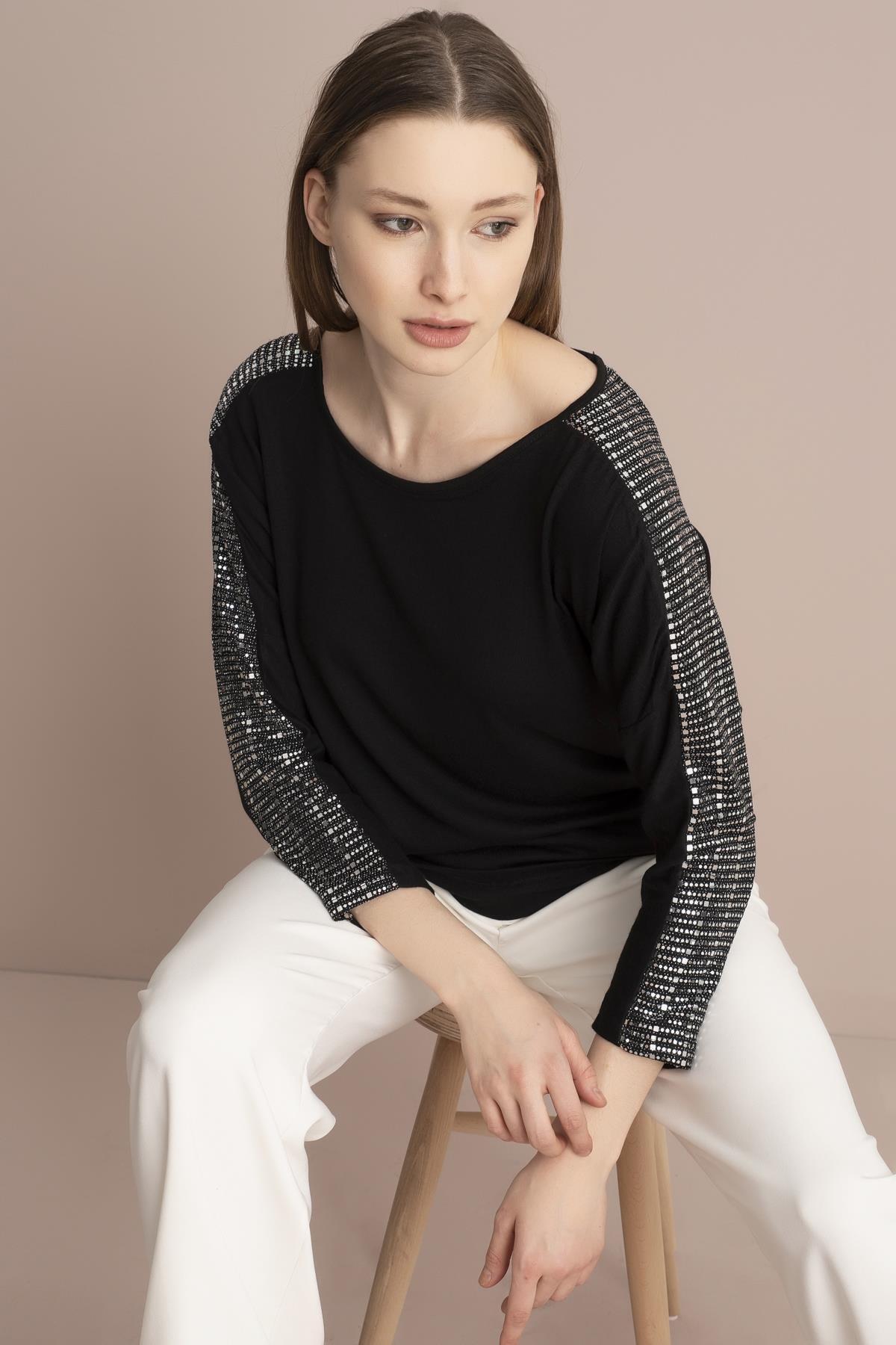 TENA MODA Kadın Siyah Kolu Payetli Çilek Bluz 2