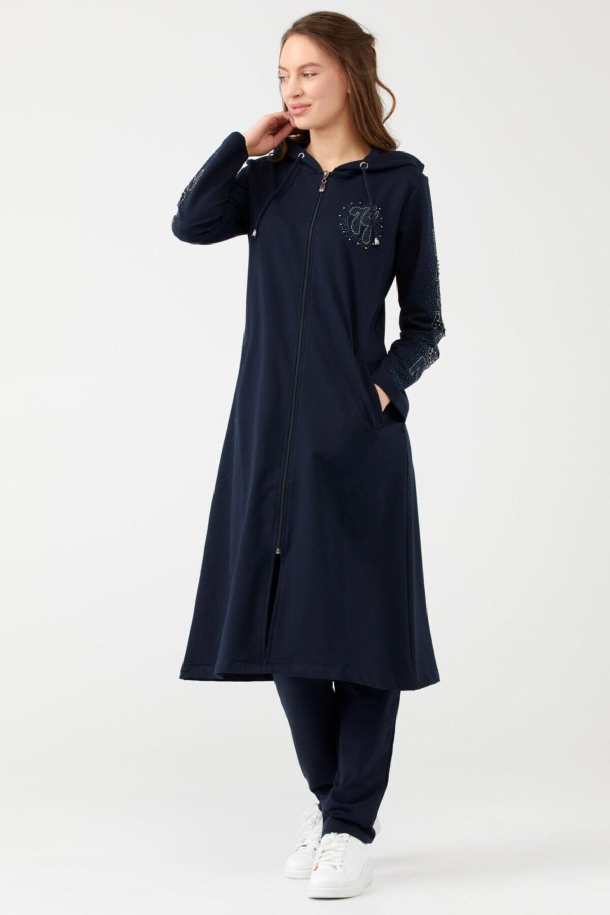 Sementa Kapüşonlu Taş Detayl Fermuarlıı Kadın Tunik - Lacivert 1