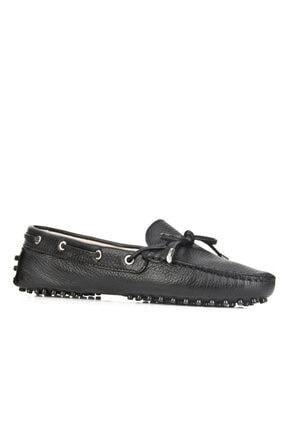 Cabani Fiyonk Detaylı Loafer (Drive-makosen) Kadın Ayakkabı Siyah Naturel Floter Deri