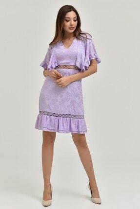 Modakapimda Lila Kolları Volanlı Saten Elbise