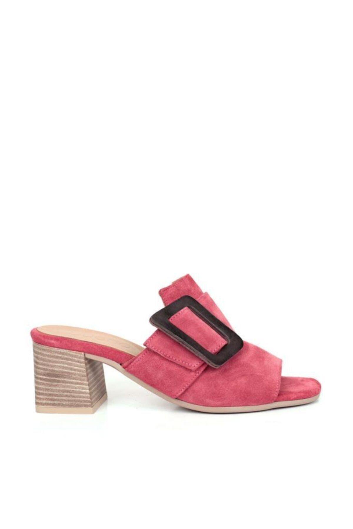 BUENO Shoes Toka Detaylı Hakiki Deri Topuklu Kadın Terlik 9n1317 1