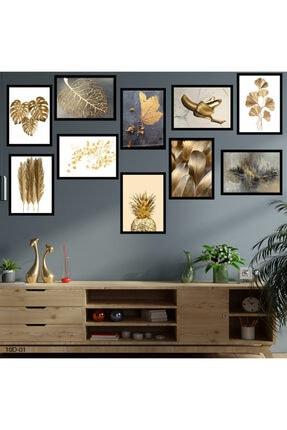 hanhomeart Gold Tema Çerçeve Görünümlü 10 Parça Duvar Tablo Seti