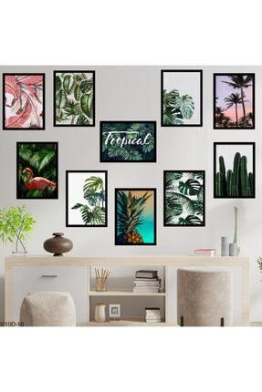 hanhomeart Tropikal Tema Çerçeve Görünüm 10 Parça Duvar Tablo Seti