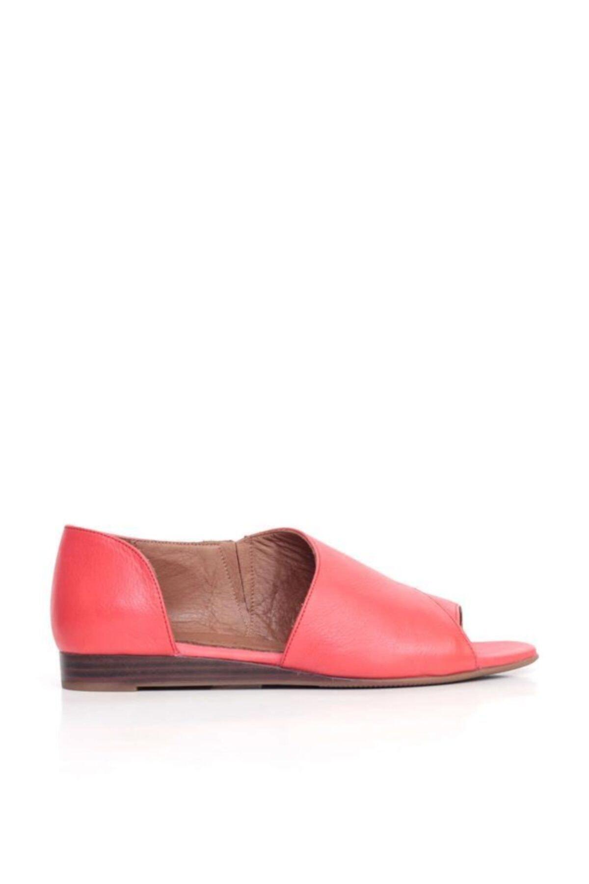BUENO Shoes Yanı Ve Burundan Açık Hakiki Deri Kadın Babet 9n1902 1