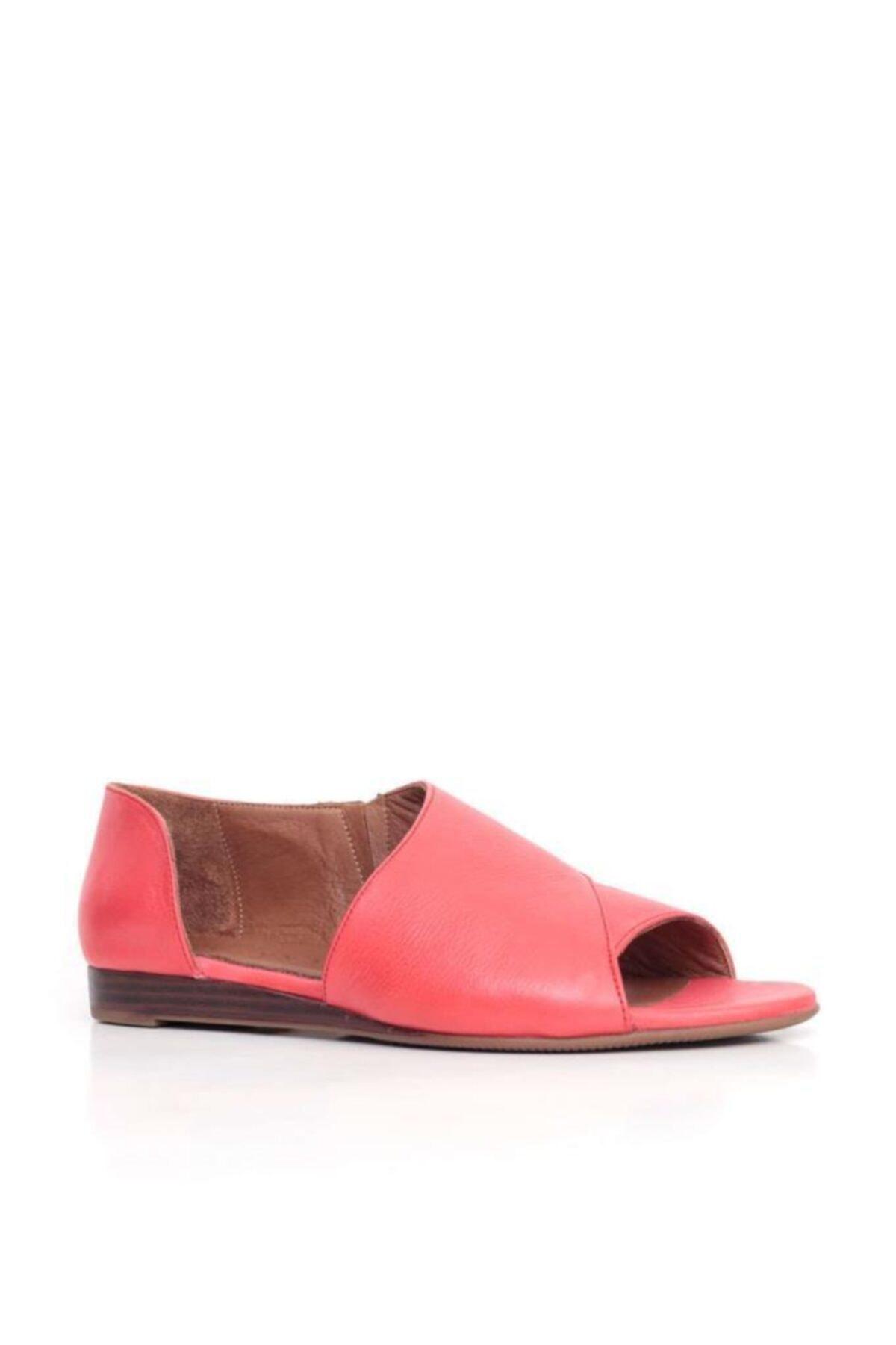 BUENO Shoes Yanı Ve Burundan Açık Hakiki Deri Kadın Babet 9n1902 2