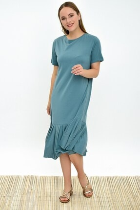 Cotton Mood 9303044 Süprem Eteği Pliseli Kısa Kol Elbise Cagla Yesıl