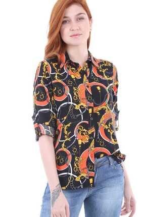 Bigdart 3638 Kol Katlamalı Desenli Gömlek