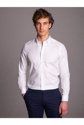 Dufy Beyaz Pamuklu Klasik Erkek Gömlek - Slım Fıt