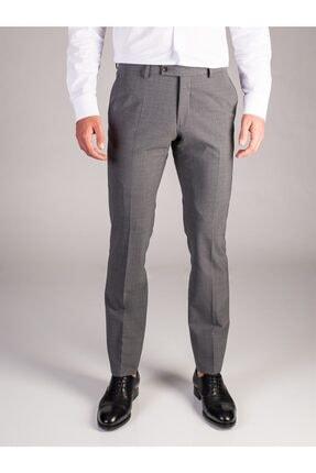 Dufy Açık Gri Melanj Düz Bez Ayağı Dokuma Kumaş Erkek Pantolon - Regular Fıt