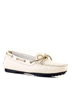 Cabani Fiyonklu Loafer Günlük Kadın Ayakkabı Bej Deri