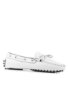 Cabani Fiyonk Detaylı Loafer (Drive-makosen) Kadın Ayakkabı Beyaz Floter Deri