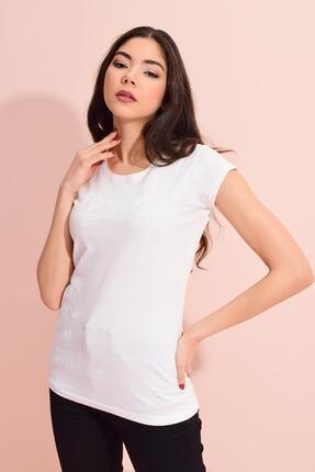 TENA MODA Kadın Ekru Flovers Kabartma Desen Tişört