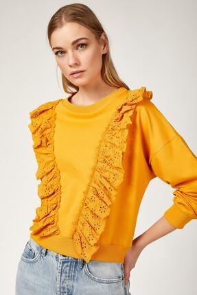 Bigdart 4119 Volan Gübür Detaylı Crop Sweat Bluz