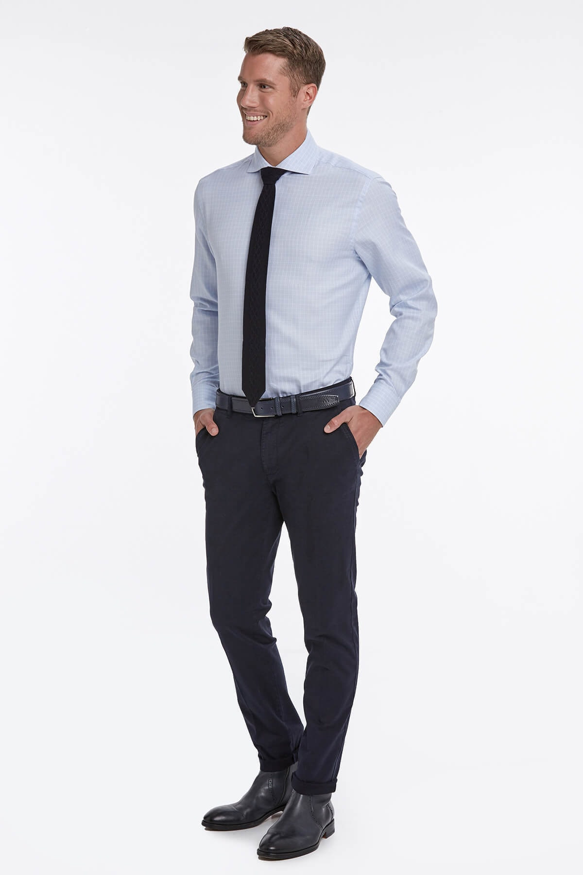 Hemington Kareli Mavi Gömlek 2