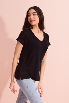 TENA MODA Kadın Siyah V Yaka Geniş Salaş Tişört
