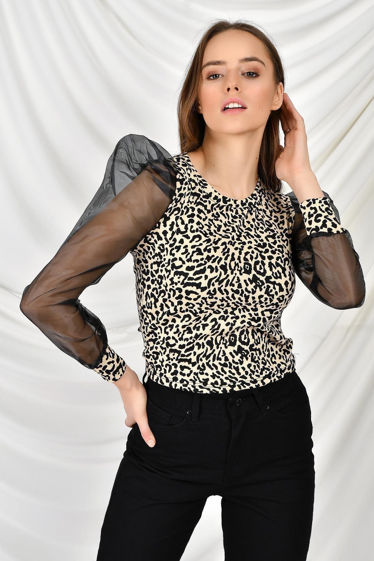 TENA MODA Kadın Taş Kolları Sifon Leopar Bluz 2