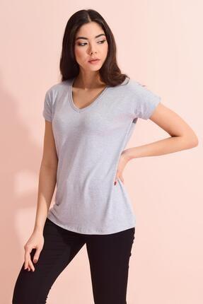 TENA MODA Kadın Gri V Yaka Geniş Salaş Tişört