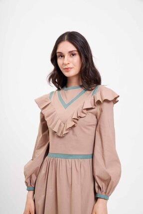 Mizalle Biye Fırfırlı Uzun Poplin Elbise (Bej)