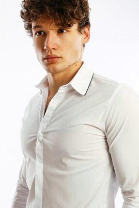 Karpefingo Erkek Fermuar Yakalı Beyaz Gömlek - 37428