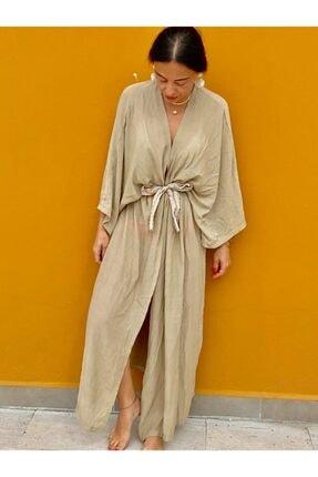 BEACHTALK Keten Kumaştan, Nokta Nakış Kemerli Uzun Bol Kesim Kimono.