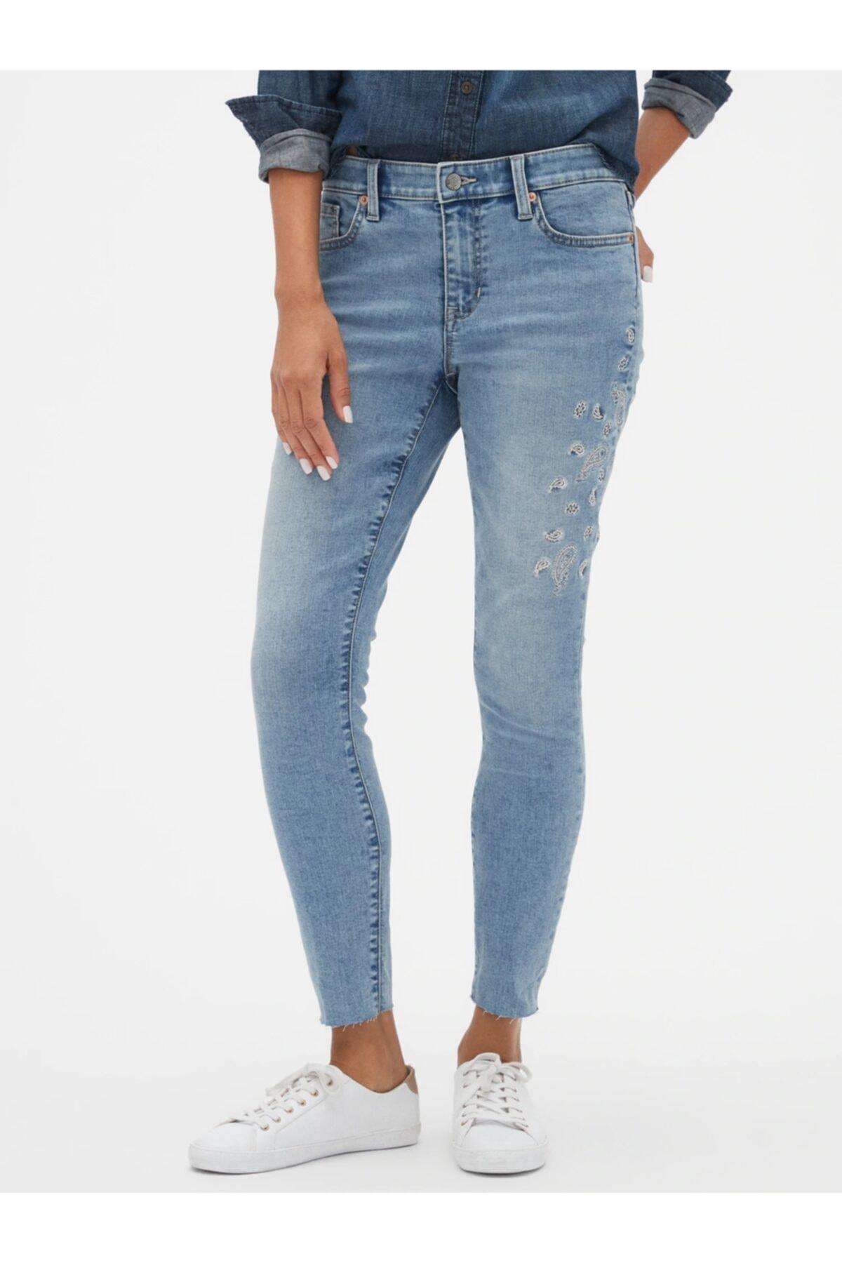 GAP Işlemeli Mid Rise Legging Skimmer Jean Pantolon 1