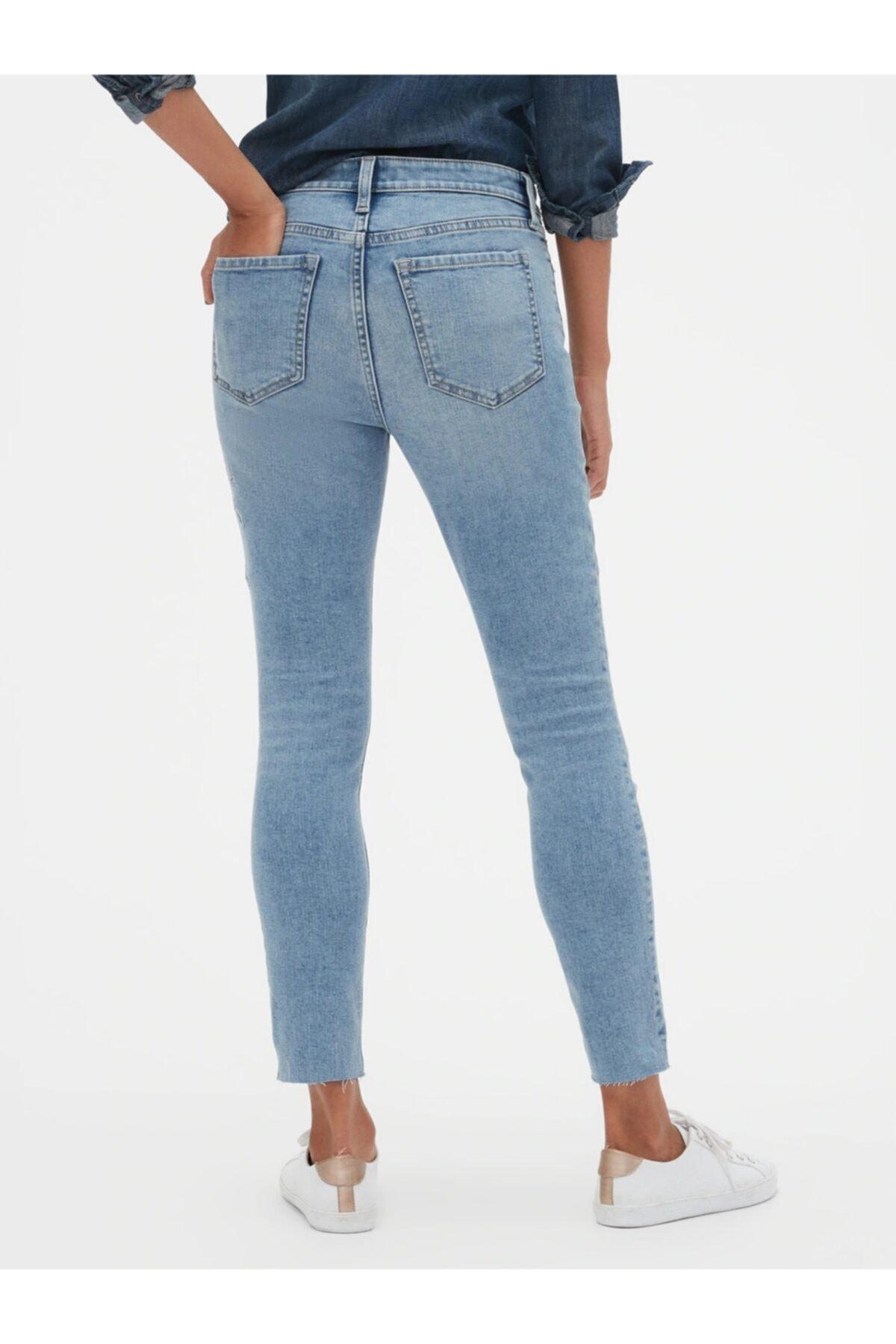GAP Işlemeli Mid Rise Legging Skimmer Jean Pantolon 2