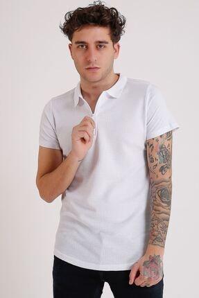 LTC Jeans Erkek Polo Yaka Beyaz Fermuarlı T-shirt