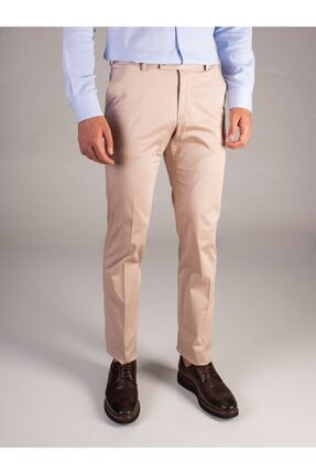 Dufy Bej Düz Pamuklu Saten Erkek Pantolon - Regular Fıt