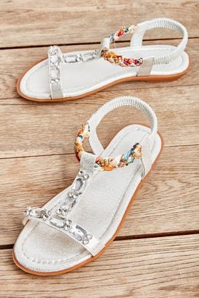 Bambi Gümüş Kadın Sandalet L0625010278