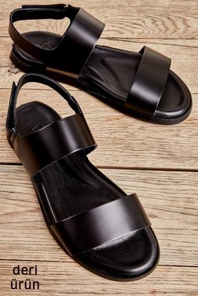 Bambi Hakiki Deri Siyah Erkek Sandalet L1801020403