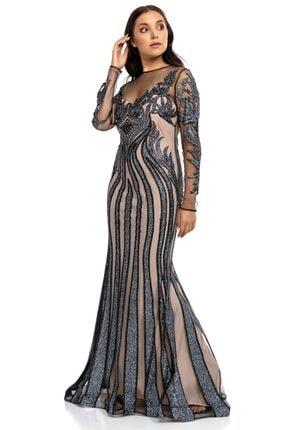 Abiye Sarayı Antrasit Bej Transparan Simli Uzun Abiye Elbise