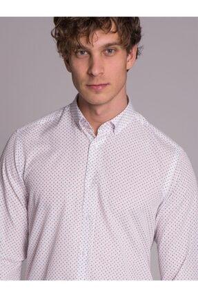 Dufy Beyaz Desenli Pamuklu Polyester Erkek Gömlek - Slım Fıt