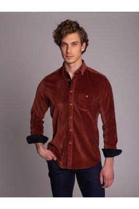 Dufy Kiremit Düz Kadife Dirsek Yamalı Erkek Gömlek - Slım Fıt
