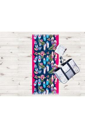 Madame Coco Ayakkabı Desenli Plaj Havlusu - Pembe -70 X 160 Cm