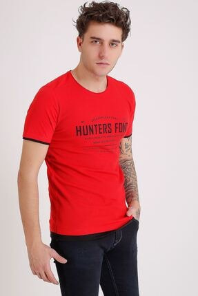 LTC Jeans Bisiklet Yaka Baskılı Model Detay Kırmızı Erkek T-shirt