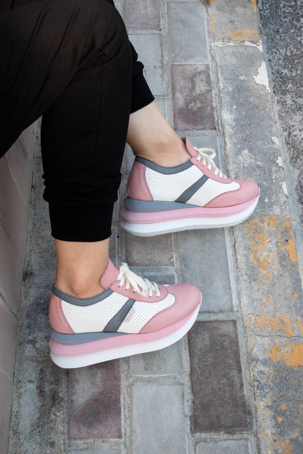 BUENO Shoes Hakiki Deri File Detaylı Bağcıklı Kadın Spor Ayakkabı 20wq10402 1