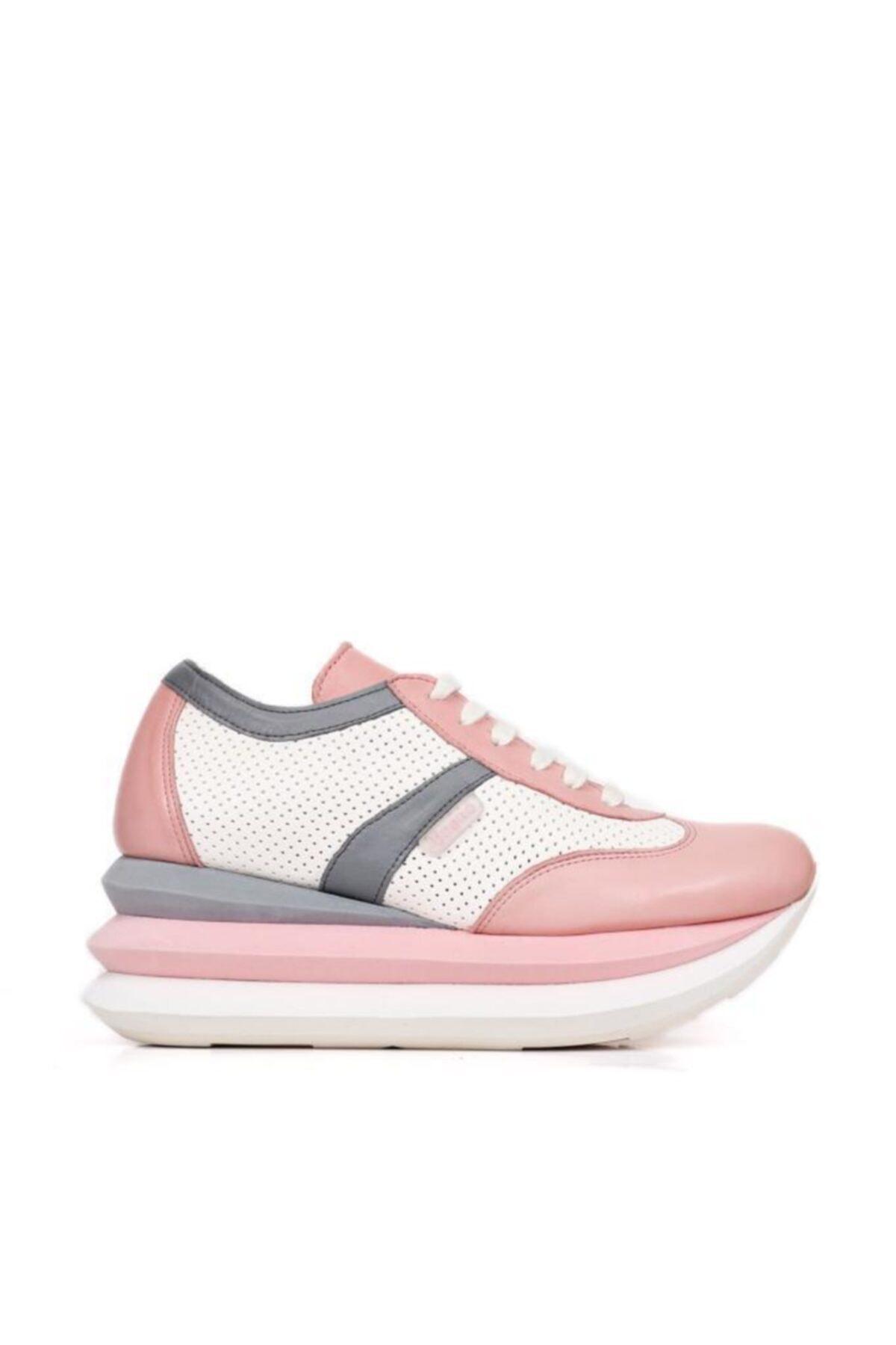 BUENO Shoes Hakiki Deri File Detaylı Bağcıklı Kadın Spor Ayakkabı 20wq10402 2