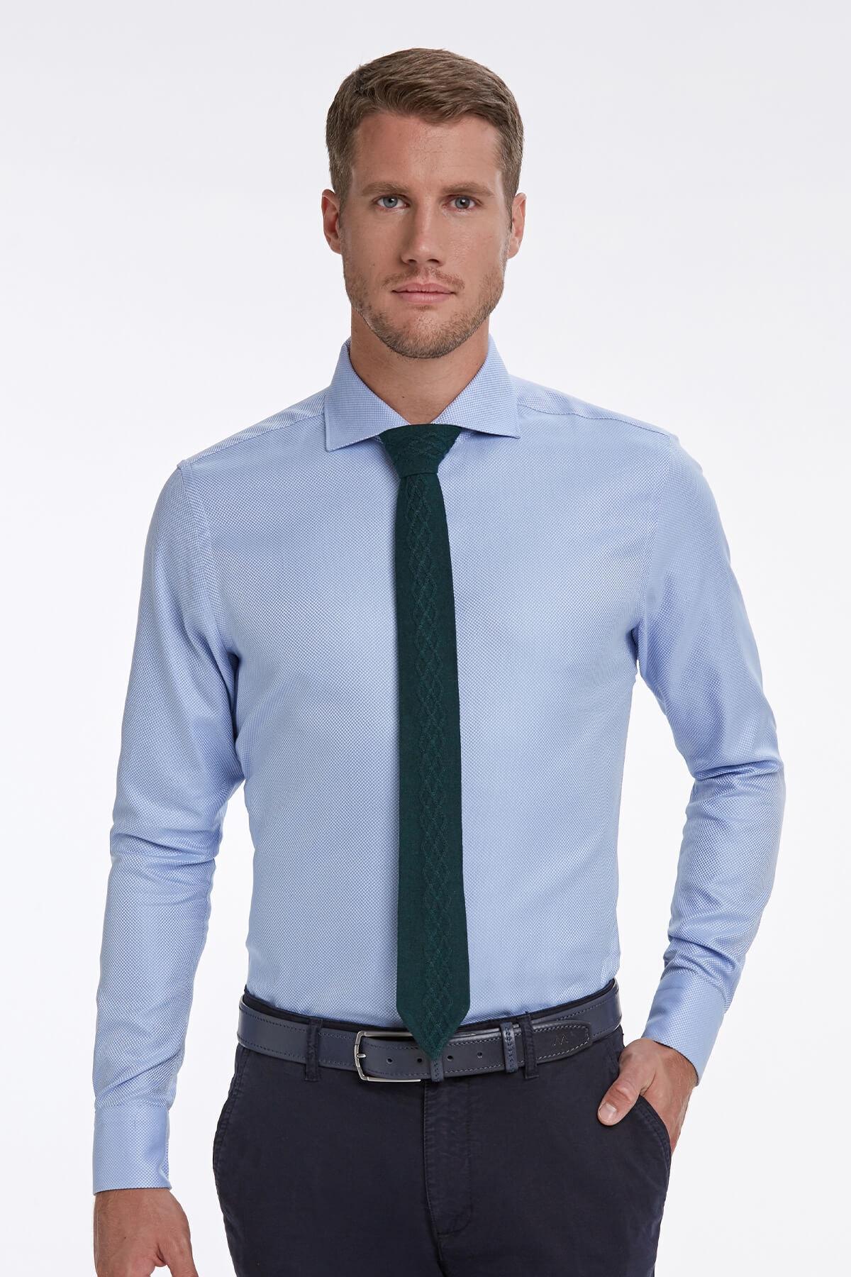 Hemington Italyan Yaka Mavi Business Gömlek 1