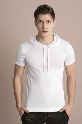 TENA MODA Erkek Beyaz Kapüşonlu Düz Tişört