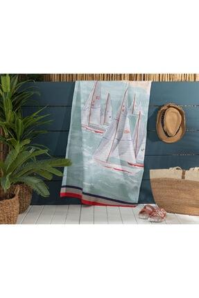 Madame Coco Azur Baskılı Kadife Plaj Havlusu - 75x150 Cm
