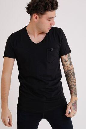 LTC Jeans Bisiklet Yaka Cepli Siyah Erkek Penye T-shirt