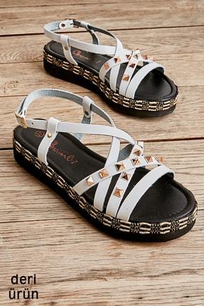 Bambi Hakiki Deri Beyaz Kadın Sandalet L0808500703