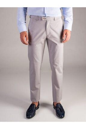 Dufy Açık Gri Düz Kalın Iplik Erkek Pantolon - Regular Fıt