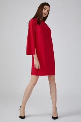 Gusto Kolları Yırtmaçlı Yuvarlak Yakalı Elbise - Kırmızı