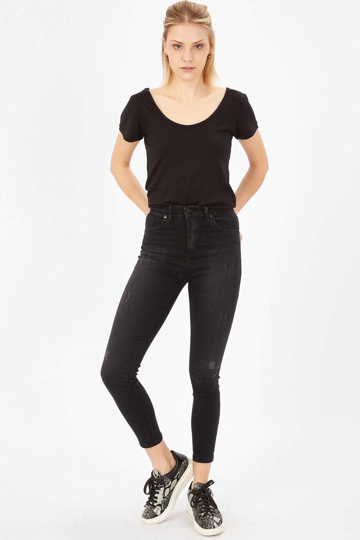 Arma Life Taşlanmış Lazerli Yüksek Bel Likralı Pantolon - Taşlanmış Siyah 1