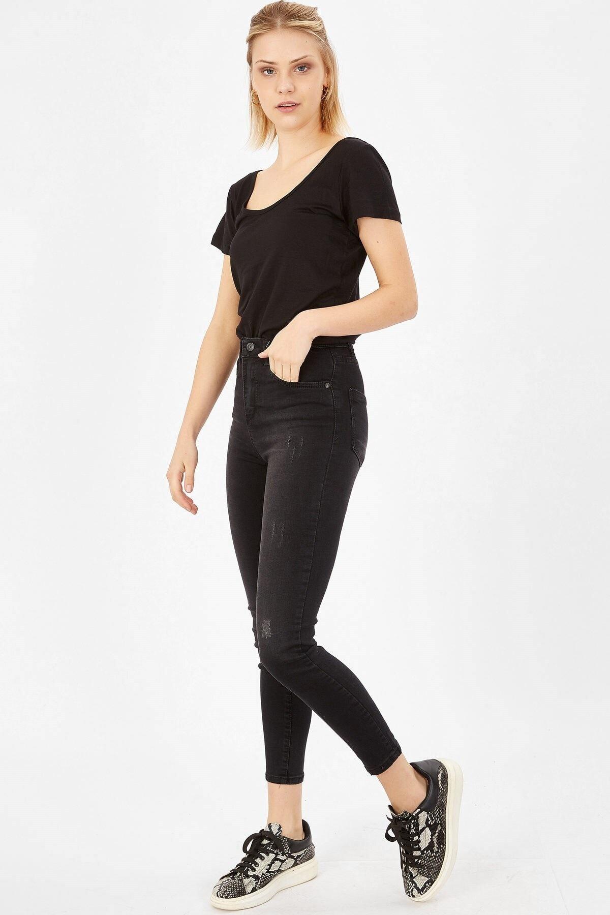 Arma Life Taşlanmış Lazerli Yüksek Bel Likralı Pantolon - Taşlanmış Siyah 2