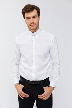 Avva Erkek Beyaz Düz Pinli Yaka Slim Fit Gömlek A91b2200