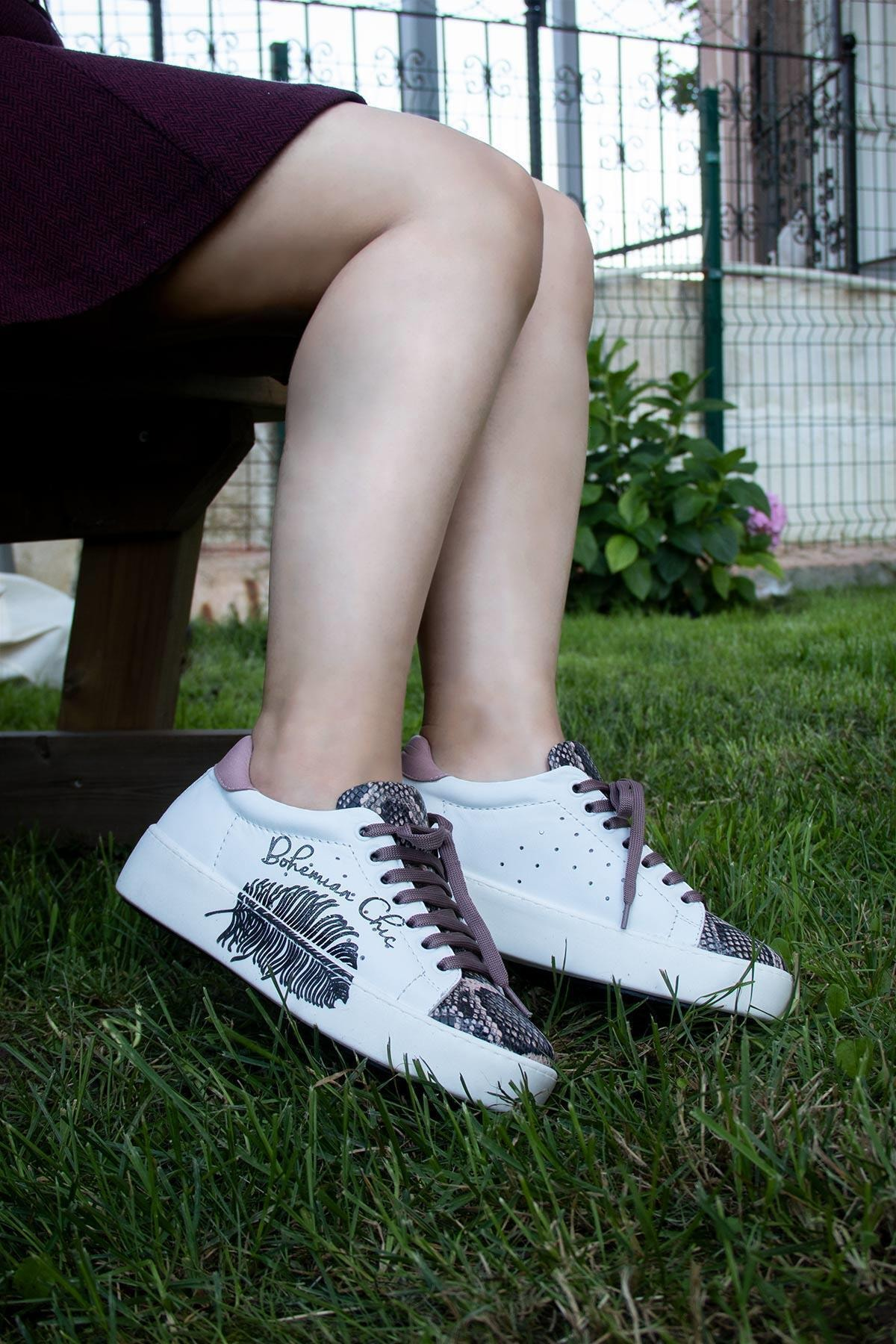 BUENO Shoes Hakiki Deri Baskılı Ve Bağcık Detaylı Kadın Spor Ayakkabı 20wr1903-sna 1