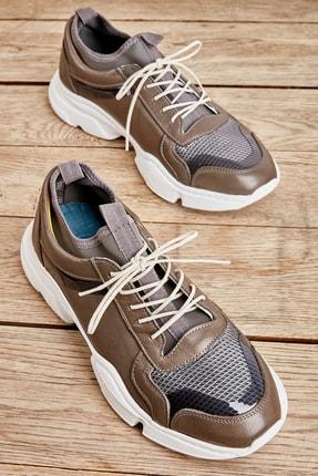Bambi Hakiki Deri Gri Erkek Sneaker L1800254103